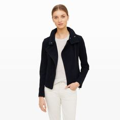 With an intimate understanding of fine leathers, the iconic Mackage label produces exquisite wares with a downtown flair. The Freda is a moto-inspired jacket crafted in genuine goatskin suede. Its stand collar can be worn closed for a streamlined, structured look, or worn open for a drapey, moto lapel appeal. Suede Slim fit Moto lapel with dual snap-button closure; asymmetrical zip front; epaulet snap tabs at shoulders; angled welt pockets at si