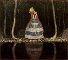 "'Inge by the Dark Lake Side' by John Bauer From ""Bland Tomtar och Troll"" (Among Elves and Trolls), an annual Christmas book for children. John Bauer [Swedish painter and illustrator, John Bauer, Elsa Beskow, Art And Illustration, Fairy Tale Illustrations, Fairytale Art, Christmas Books, Grimm, Vintage Art, Illustrators"