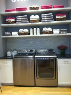 This is a nice idea, but seriously who the heck has their laundry room look like this... no one with kids I tell you that much!
