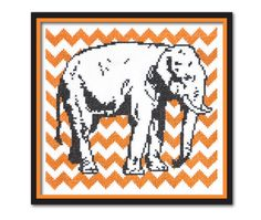 Chevron Elephant Cross Stitch Pattern Instant Download on Etsy, $6.00