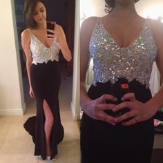 Beautiful Prom Dress, black prom dresses beaded evening gowns sexy formal dresses v neck prom dresses split evening gown slit evening dress beading prom gowns Meet Dresses Sexy Formal Dresses, Split Prom Dresses, Junior Prom Dresses, Strapless Prom Dresses, V Neck Prom Dresses, Dresses Short, Beaded Prom Dress, Black Prom Dresses, Mermaid Prom Dresses
