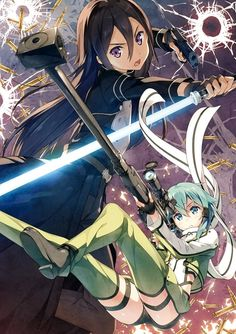 Sword Art Online 2 - Kirito & Shinon -  It kills me so much that he looks like a girl, but without the voice or boobs in this. I wish they would've just made him have at a least a full on girl avatar 'cause that shit keeps throwing me off and weirding me out.
