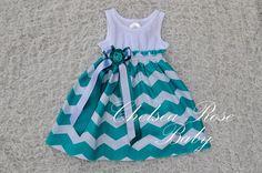 Gorgeous Chevron Baby and Toddler Dress, Baby Girl Dress, Teal Chevron print, Designer Summer Dress, Baby Dress on Etsy, $33.00