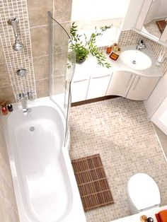 Bathroom Designs For Small Bathrooms | Love the corner sink! It doesn't always need to be next to the toilet :P