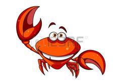 cangrejo caricatura: Feliz sonriente de la historieta roja carácter cangrejo marino agitando una garra grande, aislado en blanco