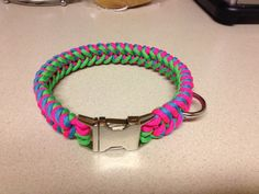 Paracord Dog Collar Neon Pink/Turquoise/Neon by ParaDogCollar