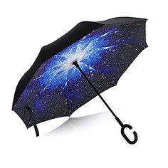 ROSEDouble Layer Inverted Umbrella Cars Reverse Umbrella- This umbrella is so pretty. Every time I open it, it's like looking at the night sky. Besides it's beauty, it works really well. It has a double lining so it makes it very sturdy in rainy weather. The fact that it's inverted is awesome. You can simply close the umbrella without getting wet. It comes with a carrying case with a long strap that you can wear over your arm. I really like this umbrella. #Rose #umbrella #review