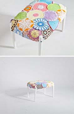 Chair cover made from doilies