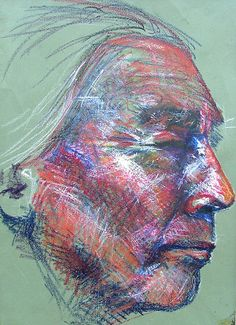 -ode portrait  Indian Oil Pastel by Josh Bowe