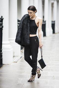 All Black - Fur jacket, crop and pants, strappy heels - Street Style Street Style 2014, Street Style Chic, Givenchy, Balenciaga, All Black Fashion, All Black Outfit, Winter Fashion, Max Mara, Celine
