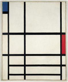 Piet Mondrian, Composition en Rouge, Bleu et Blanc II, 1937, huile sur toile, Centre Pompidou