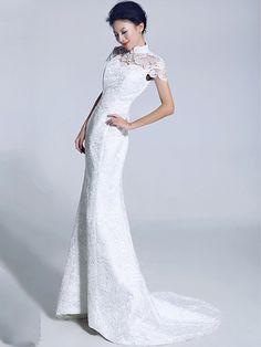 Trendy White Lace Fishtail Cheongsam Qipao Chinese Wedding Dress