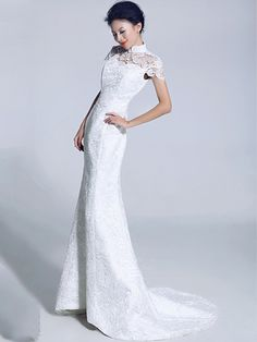 White Lace Fishtail Cheongsam / Qipao / Chinese Wedding Dress
