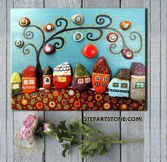 Pebble Art Neighborhood Street Colorfully Painted Houses on Rocks Under a Whimsical Tree. Stone Crafts, Rock Crafts, Pebble Painting, Stone Painting, Art Mural Rustique, Art Pierre, Pebble Art Family, 3d Wall Art, Art 3d