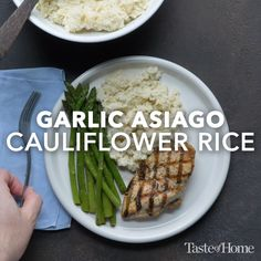 Healthy Meals Garlic Asiago Cauliflower Rice Recipe - The garlic seasoning and Asiago really pack a punch, making this five-ingredient low-carb side dish a real weeknight winner. Rice Recipes, Vegetable Recipes, New Recipes, Vegetarian Recipes, Cooking Recipes, Healthy Recipes, Cooking Pasta, Garlic Recipes, Cooking Games