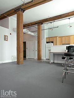 LOOOOOVE the grey floors with brown beams