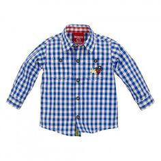 Trachtenhemd, Karohemd ´Hirsch´ karo blau/weiss für Junge