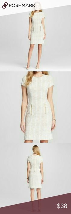 Zac and Rachel Sheath Dress Dress features:  Tweed like style  Cream and a muted gold color  Short sleeves  Decorative zipper on front  Back Zipper  Dress has a lil bit of strech 50% polyester 48% Cotton 2% Spandex Zac and Rachel  Dresses Midi