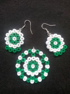 Green and white beads set
