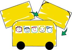 """Simple """"bus"""" activity.  Rounded edges, small white squares, black circles.  The Mailbox.com"""