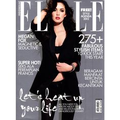 Megan Fox Elle Indonesia January 2012 ❤ liked on Polyvore featuring magazine and magazine covers