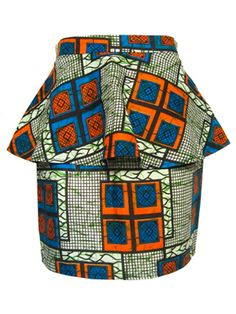 FAIR+true Fair Trade African Print Peplum Skirt