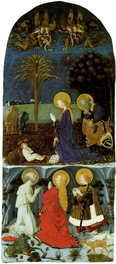 Paolo Uccello - Adoration of the Child from the Nocturnal Landscape with the Saint Jerome, Saint Mary Magdalena and Saint Eustache. 1436