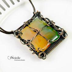 naszyjnik,agat,miedź,retro,wire wrapping - Naszyjniki - Biżuteria w ArsNeo