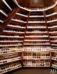 Celebrity Closets: At Woodside, Elton John's palatial English estate in Old Windsor, shelves were built into the attic eaves to showcase the singer's astonishing collection of sunglasses, which he has been amassing since the (May Le Closet, Dressing Room Closet, Dressing Rooms, Attic Closet, Closet Space, Celebrity Closets, Celebrity Houses, Celebrity Style, Home Design