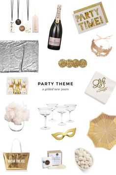 Easy gilded New Years Eve party inspiration, includes a shoppable list.