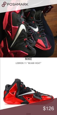 quality design ad867 d93ac Lebron 11s MIAMI HEAT EDITION Has a scuff on the inner heel. Nike Shoes  Sneakers