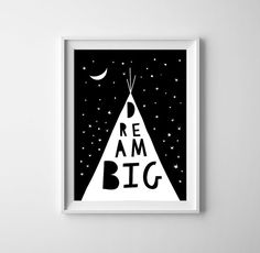 Dream big art for baby nursery.Kid poster by BrownFoxPrints