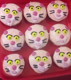 I made these EASY Pink Panther cupcakes.