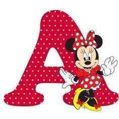 Minnie Mouse Cupcake Topper or Cake pop - Dez Ka Minnie Mouse Party, Arte Do Mickey Mouse, Mickey Mouse Letters, Mickey Mouse Birthday, Mouse Parties, Disney Alphabet, Alphabet For Kids, Alphabet And Numbers, Alphabet Letters