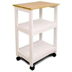 Natural Kitchen Cart with Shelf