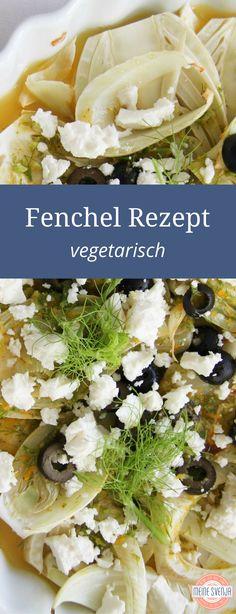 Ein wunderbares Fenchel Rezept - vegetarisch und gesund. Auf www.meinesvenja.de/2011/07/28/fenchel-mit-schafskaese-und-oliven/