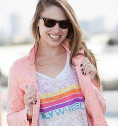 Flywheel Tee With Rainbow Stripes #flywheelsports #nevercoast