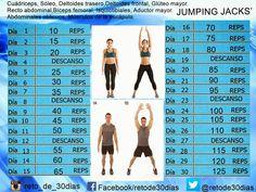 Trabaja glúteos y abdomen con Jumping Jacks ~ Reto de 30 días