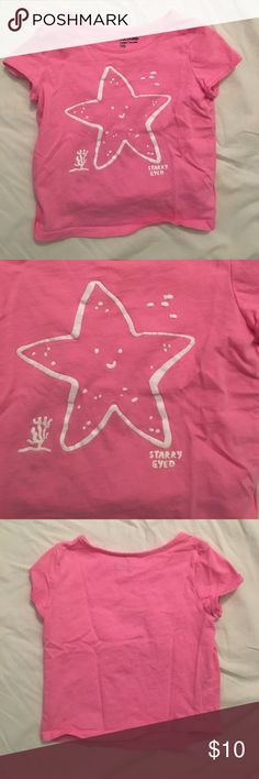 "Baby GAP Starfish Shirt Pink short sleeve shirt with a starfish printed on the front from Baby GAP. Says ""starry eyed"". Size 3T GAP Shirts & Tops Tees - Short Sleeve"