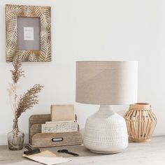 White Ceramic Lamp with Taupe Shade | Maisons du Monde