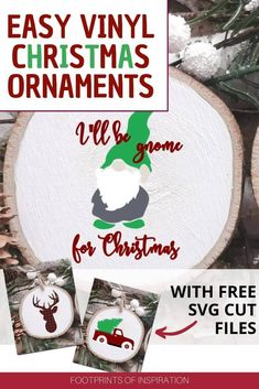 Create these easy DIY vinyl Christmas ornaments in no time using the included Free SVG Cut Files and your Silhouette or Cricut cut machine. Vinyl Christmas Ornaments, Easy Diy Christmas Gifts, Easy Diy Gifts, Christmas Svg, Christmas Projects, Christmas Decor, Christmas Ideas, Diy Vinyl Projects, Cool Diy Projects