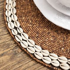 Beaded Placemat Round Wood & Shells Close Up