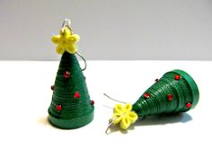 Christmas Tree Earrings made from paper.
