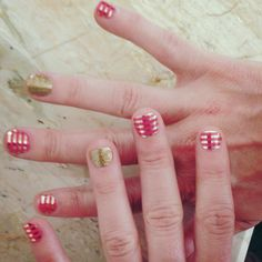 Coral Kiss with Metallic Gold Pinstripes and Gold Sparkle accent nail wraps by Jamberry Nails