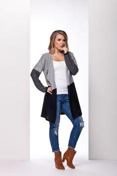 Veste jean noir long femme
