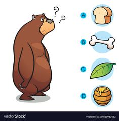 Vector Illustration of make the right choice connect animal with their food - Bear , 4 Year Old Activities, Toddler Learning Activities, Preschool Activities, Kids Learning, Activities For Kids, Farm Animals Preschool, Preschool Worksheets, Kids Education, Games For Kids