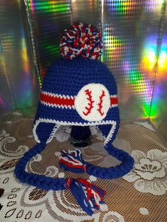 Crochet Chicago Cubs Baseball Ear Flop Pom Pom Hat - Cubs - Kids - Adults - Red- Blue - Sports Teams - Toddler- Cubs- gift