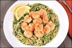 Healthy Hungry Girl Protein-Packed Recipes: Zucchini Spaghetti with Shrimp Bariatric Eating, Bariatric Recipes, Ketogenic Recipes, Ketogenic Diet, Bariatric Surgery, Ww Recipes, Seafood Recipes, Cooking Recipes, Healthy Recipes