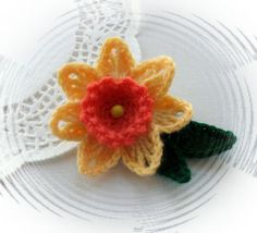 CROCHET FLOWER BROOCH APPLIQUE YELLOW DAFFODIL FLOWER | eBay