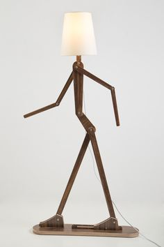 DIY fancy human shape standard lamp with flexible arm -Rustic Wooden Home lighting with four colours choice-By iWood Crafts LLC. Garage Furniture, Wood Pallet Furniture, Unique Furniture, Home Lighting, Chandelier Lighting, Wooden Table Lamps, Creative Lamps, Standard Lamps, Diy Clock